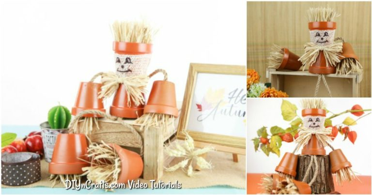 Small collage image of scarecrow clay pot person