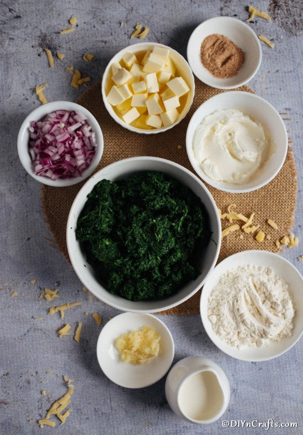 Ingredients for hot spinach dip