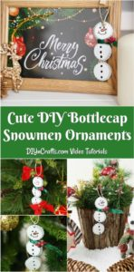Collage picture of snowman ornaments made from bottle caps hanging in various places in Christmas decor