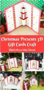 Collage image of displaying gift box 3D Christmas cards