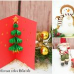 A small collage picture of a 3d Christmas tree card on display