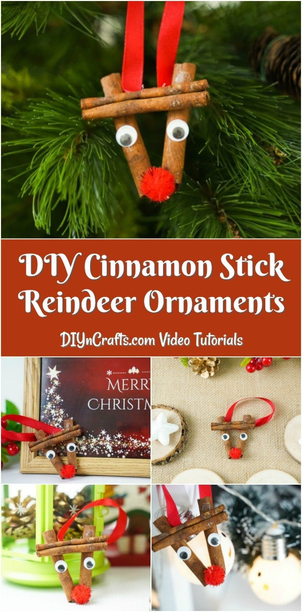 Cinnamon stick reindeer ornaments being displayed on a tree