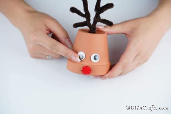 Making a reindeer christmas decoration with flower pots and spiky horns