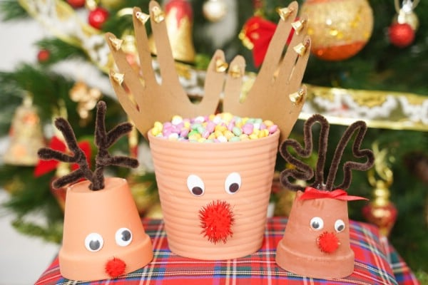 DIY Clay Pot Reindeer Christmas Decorations