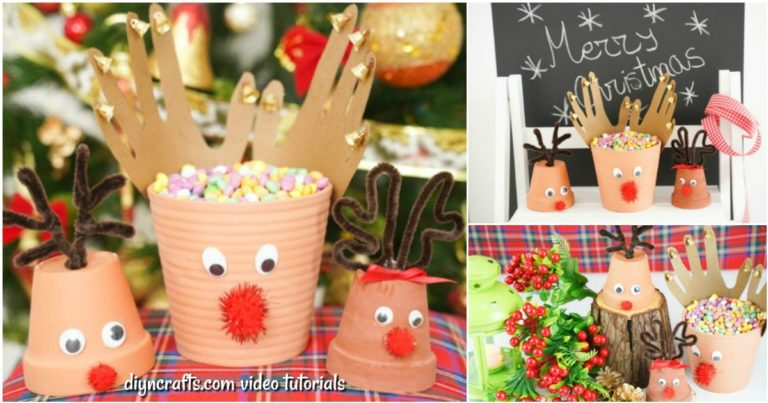 Small collage image of ways to display a reindeer Christmas decor idea