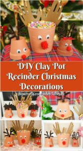 A collage showing how to make reindeer Christmas decor out of simple flower pots and craft supplies