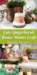 Collage image of a gingerbread house flower pot being displayed