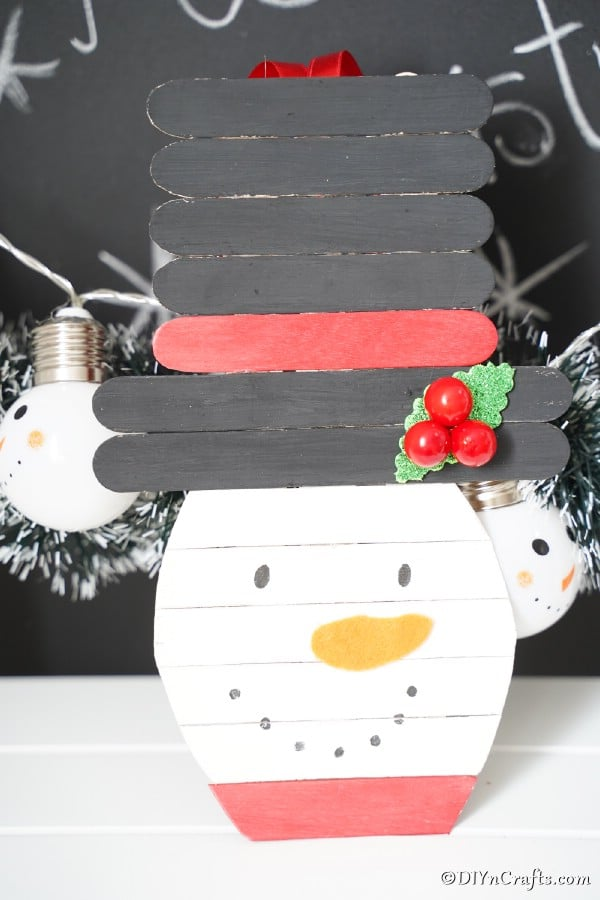 Up close picture of snowman popsicle stick craft