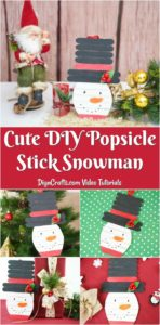 Large collage image of how to make popsicle stick snowman craft
