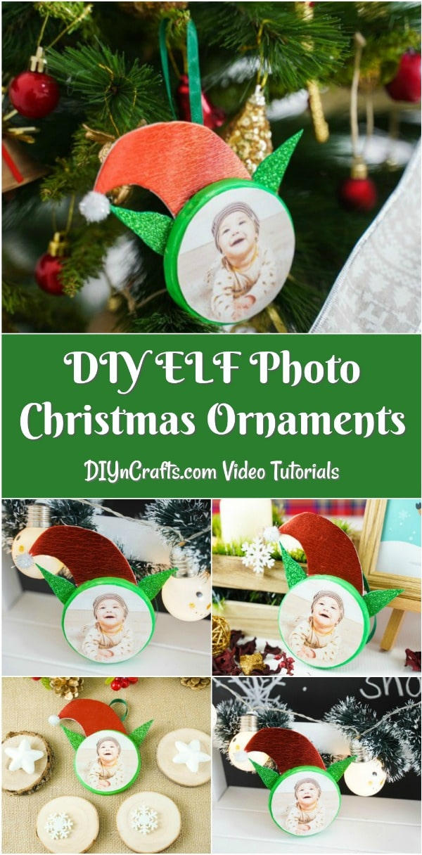 Elf Photo Ornaments for Christmas Collage pciture