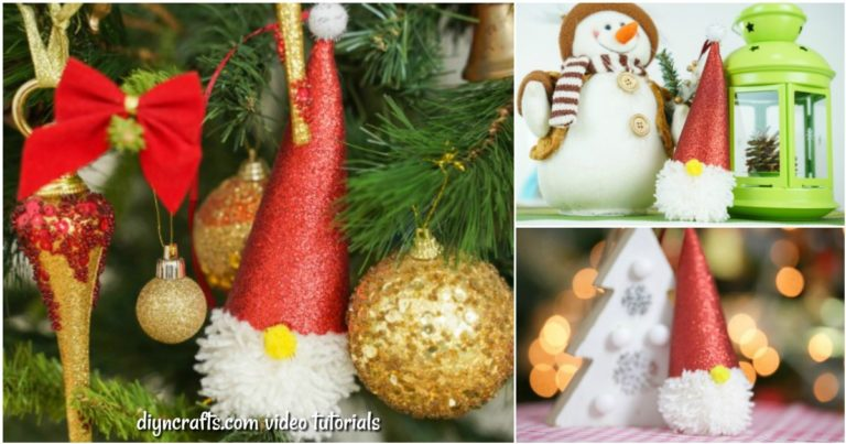 Small collage image showing how to display a Christmas gnome ornament