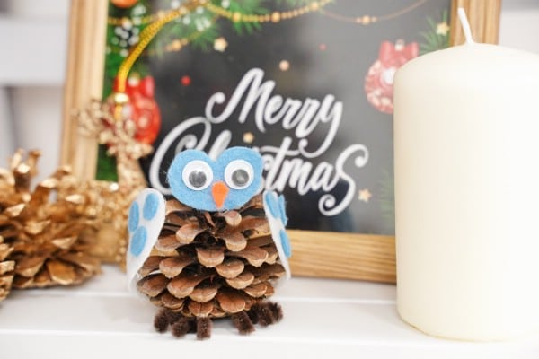 Cute Pine Cone Owl Decor Winter Craft