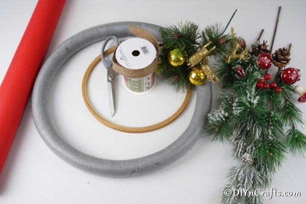 Supplies needed for making a large diy Christmas wreath