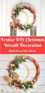 Collage image of DIY Christmas wreath being displayed
