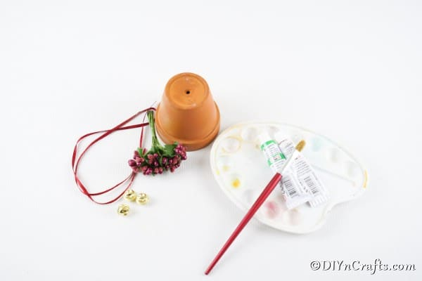 Supplies needed to make a Christmas bell
