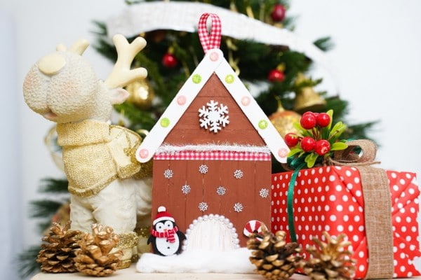 Charming Craft Stick Gingerbread House Ornament