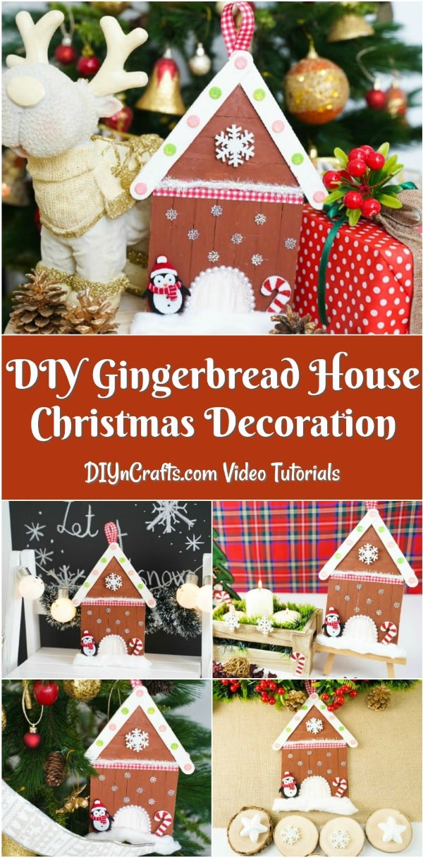 Collage image of gingerbread house Christmas decoration idea