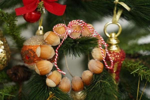DIY Rustic Hazelnut Christmas Ornaments