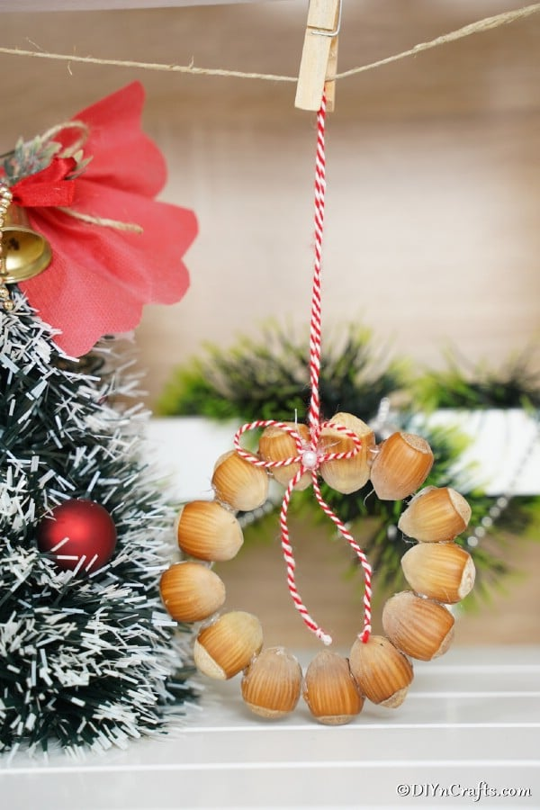 A rustic hazelnut Christmas ornament hanging from a rope next to a holiday tree