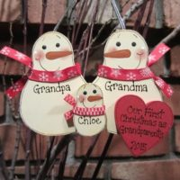 Family of 3: First Christmas as Grandma & Grandpa Personalized Snowman Ornament