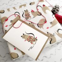 Cat christmas cards, cat wrapping papers