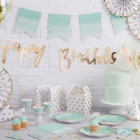 Happy Birthday Garland Party Decoration Gold Wall Decor