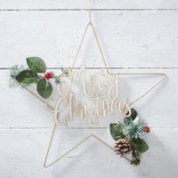 Merry Christmas Star Foliage Wreath