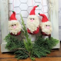 Needle felted Roly-Poly Santa ornaments, set of 3 Santa ornaments