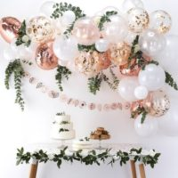 Rose Gold Balloon Arch Kit - Rose Gold & White Party Decorations - Rose Gold Balloon Garland