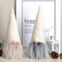 "Winter White Wool 11"" Scandinavian Tomte Gnome Nisse Ornament"