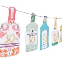 30th Party Decorations - Paper Garland Gin, Champagne and Tequila Garland