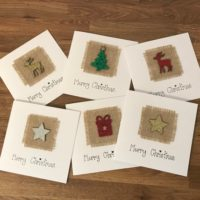 Handmade Hessian and Glitter Christmas Cards (Multi Pack Available)