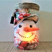 Smiling Snowman candle holder