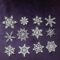 12 White crochet snowflakes xmas decor Christmas ornaments