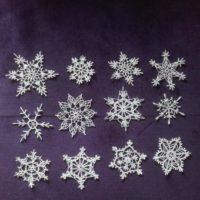 12 White crochet snowflakes xmas decor Christmas ornaments