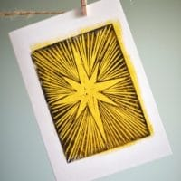 Christmas star card from original linocut