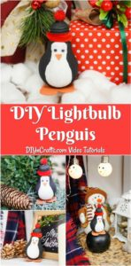 Collage of lightbulb penguin decoration being displayed