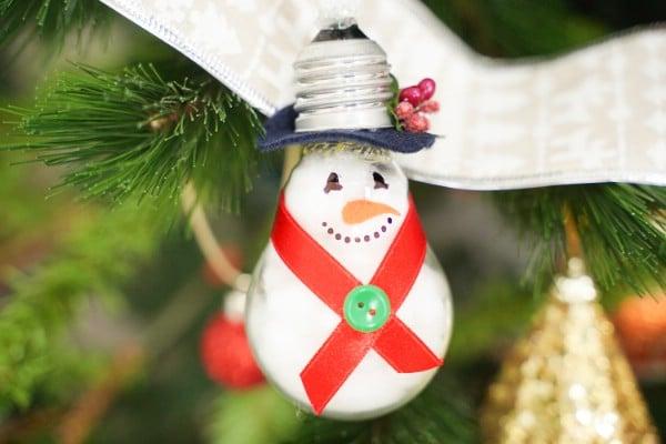 Cute Upcycled Light Bulb Snowman Ornament