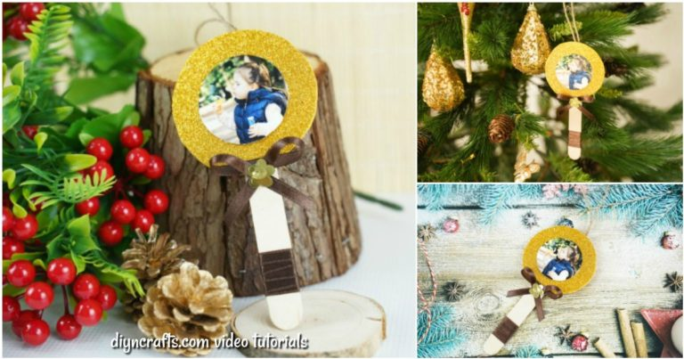 Small collage image of craft stick photo ornament