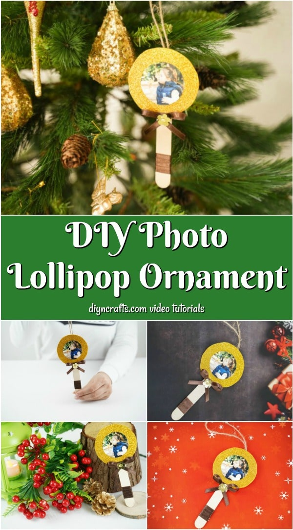 Collage image of lollipop photo ornament displayed in different places