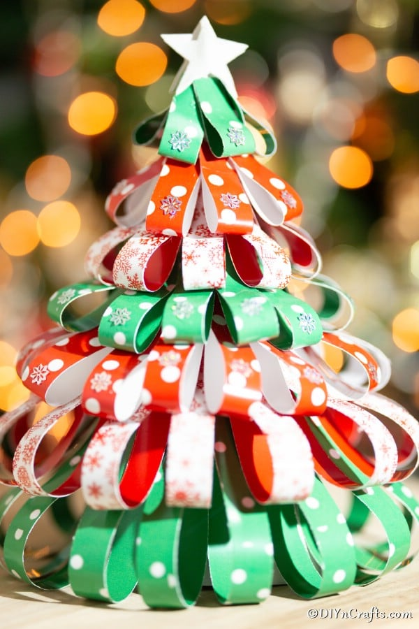 Up close picture of a card stock paper tree