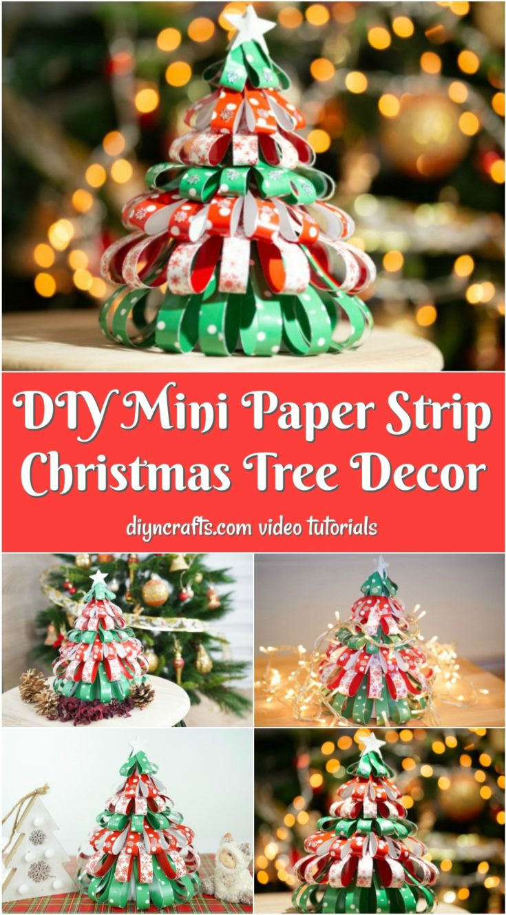 Collage image of mini paper strip Christmas tree decoration on a table