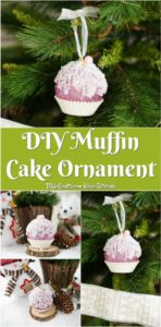 A collage picture of a muffin ornament for the tree being displayed