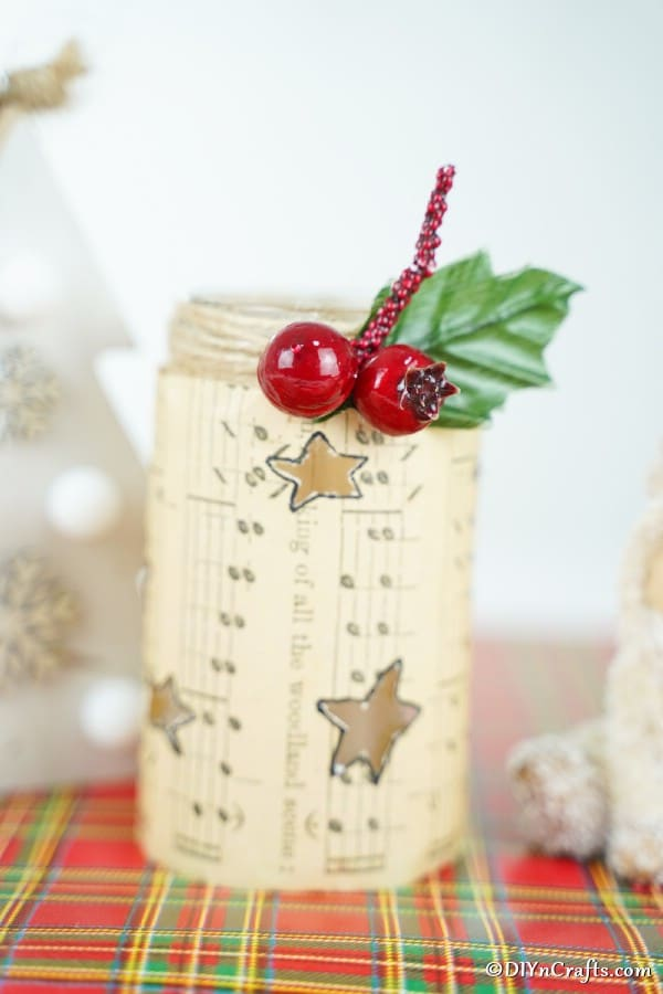 Up close picture of a prepared music sheet lantern Christmas decoration