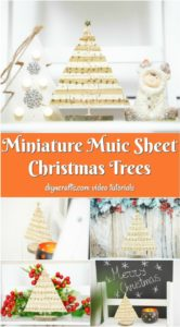 Collage image of how to display miniature music sheet Christmas trees