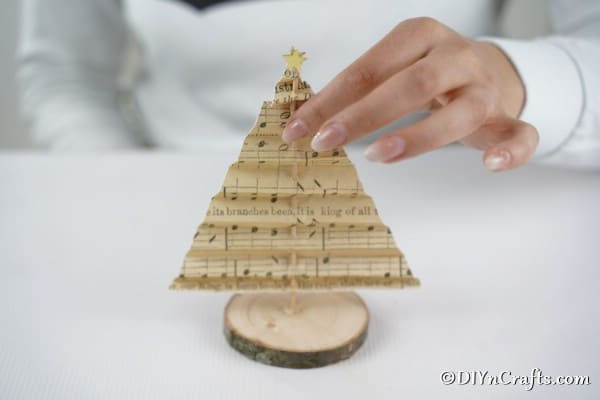 Adding the tree to the wooden slice for displaying