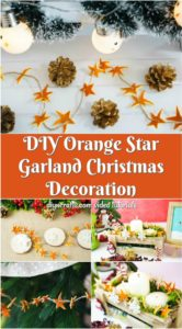 An orange peel star garland displayed on a variety of holiday decorations