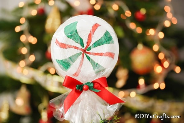 Giant lolipop displayed in front of a Christmas tree