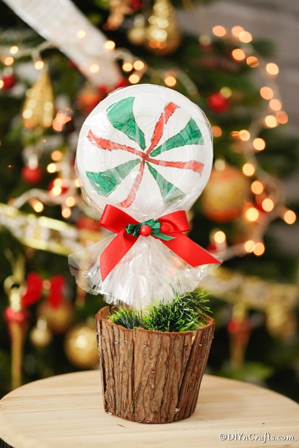 Giant peppermint lollipop sitting in wooden stump in front of Christmas tree
