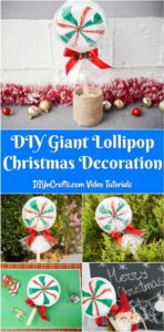 Large collage image of giant lollipops for Christmas being displayed